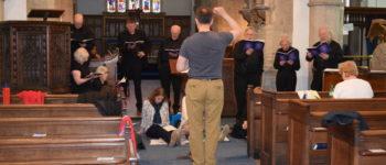 Elgar Chorale rehearsing at St Edmund's Church, Kingsbridge