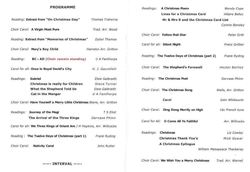 Elgar Chorale's Programme