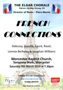 Poster showing Eiffel Tower in background and concert details in foreground
